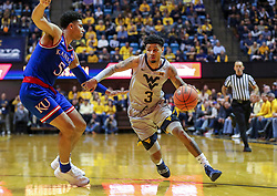 Jan 19, 2019; Morgantown, WV, USA; West Virginia Mountaineers guard James Bolden (3) drives to the basket during the second half against the Kansas Jayhawks at WVU Coliseum. Mandatory Credit: Ben Queen-USA TODAY Sports
