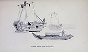 Sketch of a Japanese Fishing Boat off Yokohama from the book ' Pen and pencil sketches of shipping and craft all round the world ' by Pritchett, Robert Taylor Published in London in 1899
