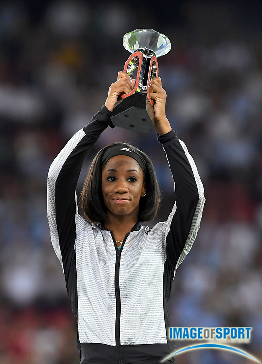 Sep 1, 2015; Zurich, SWITZERLAND; Kendra Harrison (USA) poses with IAAF Diamond League women's 100m hurdles champion trophy at the 2016 Weltklasse Zurich during an IAAF Diamond League meeting at Letzigrund Stadium. Photo by Jiro Mochizuki