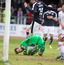 Dundee's Craig Wighton over Inverness Caledonian Thistle's keeper Owain Fon-Williams. <br /> Dundee 1 v 1 Inverness Caledonian Thistle, SPFL Ladbrokes Premiership game played at Dens Park, 27/2/2016.