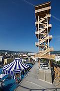 Linz, Austria. HÖHENRAUSCH.3<br /> Die Kunst der Türme (The Art of Towers)<br /> Oberösterreich-Turm (Upper Austria Tower) and Bewegungszirkus (Circus of Movement)