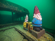 School bus at Dutch Springs, Scuba Diving Resort Pennsylvania with its artifacts
