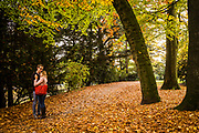 A couple hughing in the park on a autumn day. ghent, Belgium, 27.10.2015