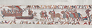 Bayeux Tapestry scene  6 - 7:  Harold is areested by Guy de Ponthieu for landing without permission. BYX6 BYX7 .<br /> <br /> If you prefer you can also buy from our ALAMY PHOTO LIBRARY  Collection visit : https://www.alamy.com/portfolio/paul-williams-funkystock/bayeux-tapestry-medieval-art.html  if you know the scene number you want enter BXY followed bt the scene no into the SEARCH WITHIN GALLERY box  i.e BYX 22 for scene 22)<br /> <br />  Visit our MEDIEVAL ART PHOTO COLLECTIONS for more   photos  to download or buy as prints https://funkystock.photoshelter.com/gallery-collection/Medieval-Middle-Ages-Art-Artefacts-Antiquities-Pictures-Images-of/C0000YpKXiAHnG2k