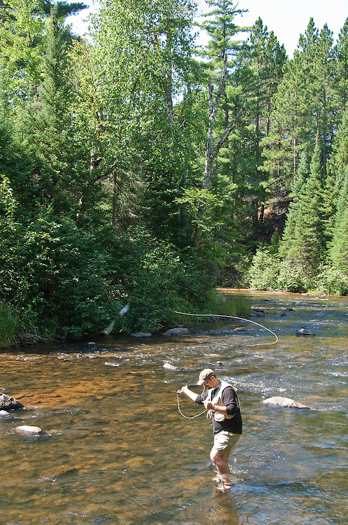 Fly fishing on the east branch of the Ontonagon River on Michigan's Upper Peninsula.