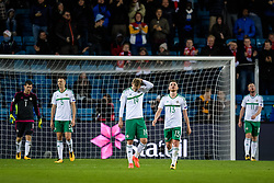 October 8, 2017 - Oslo, NORWAY - 171008  Players of Northern Ireland looks dejected after Norways 1-0 goal during the FIFA World Cup Qualifier match between Norway and Northern Ireland on October 8, 2017 in Oslo..Photo: Jon Olav Nesvold / BILDBYRÃ…N / kod JE / 160041 (Credit Image: © Jon Olav Nesvold/Bildbyran via ZUMA Wire)