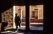 16 JANUARY 2002, GUANAJUATO, GUANAJUATO, MEXICO: A man walks into La Compania Catholic church before mass in the city of Gunajuato, state of Guanajuato, Mexico, Jan. 16, 2002. PHOTO BY JACK KURTZ