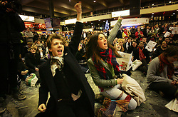© under license to London News Pictures. Students hold a sit in rally at Euston station (08/12/10) ahead of tomorrow's student protests in London. Photo credit should read: Olivia Harris/ London News Pictures