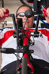 Queen Elizabeth Olympic Park, London. September 13th 2014. A US competitor warms up as wounded servicemen and women from 13 different countries compete for sporting glory during the cycling competition at the Invictus Games.