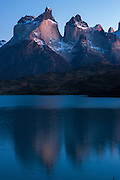 Lago Pehoe with Horns of Torres del Paine in back<br /> Torres del Paine National Park<br /> Patagonia<br /> Magellanic region of Southern Chile