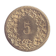 Aluminium bronze five Swiss cents coin on white background