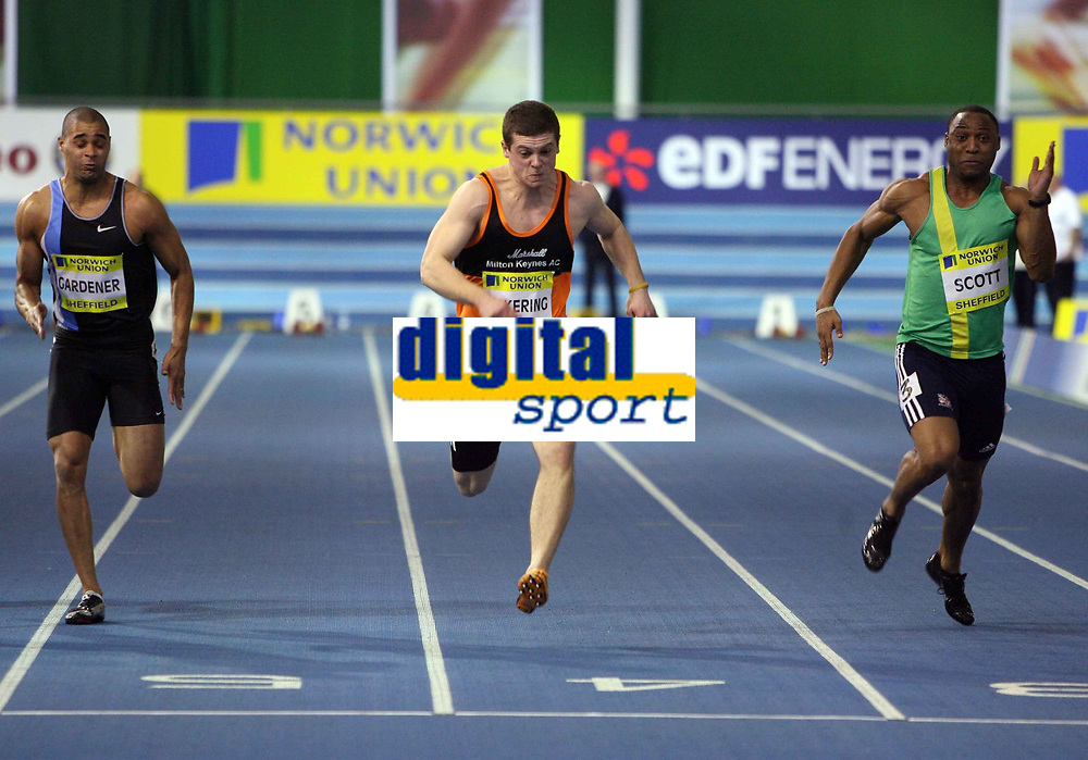 Photo: Rich Eaton.<br /> <br /> Norwich Union European Indoor Trials and UK Championships, Sheffield. 11/02/2007. Craig Pickering centre wins the mens 60 metres final ahead of Jason Gardener left and Ryan Scott right