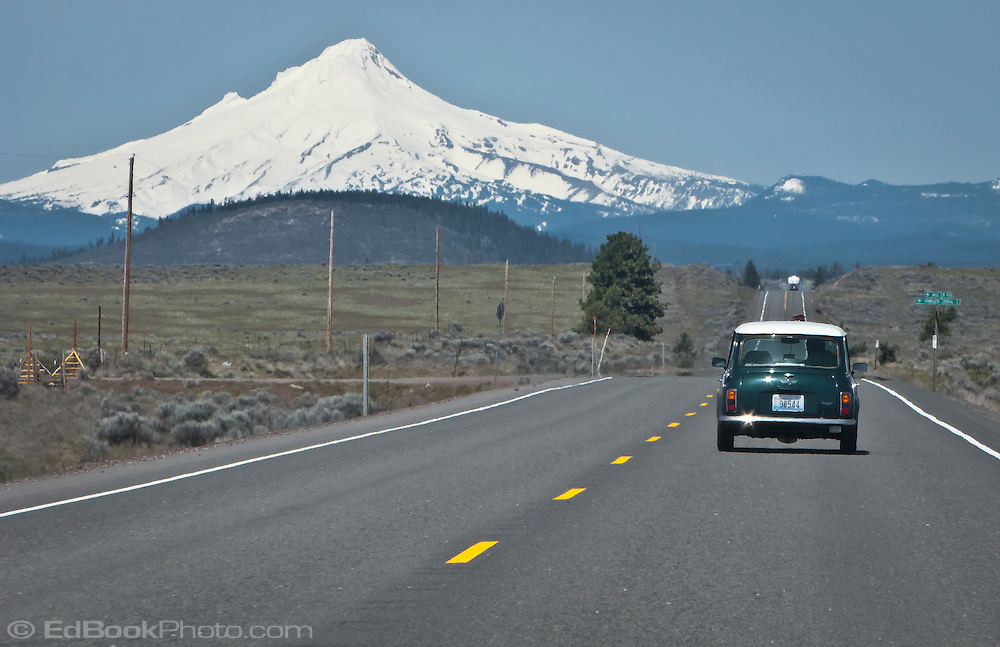 scene along a cross country trip with in a classic Mini Cooper auto - Mt Hood and classic Mini Cooper US 26