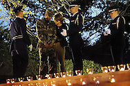 A member of the Maryland Airforce ROTC is comforted by a friend as members of the Maryland Airforce ROTC honor guard preside over a Veteran's Day memorial at the Maryland Memorial Chapel..