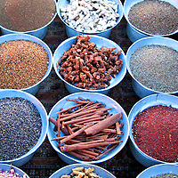 North Africa, Africa, Morocco, Marrakesh. Dried nuts and spices of the Djeema el Fna souks and street vendors.