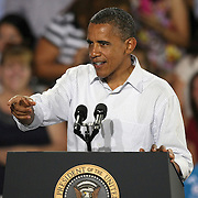 President Barack Obama points to the crowd as he speaks during his Grassroots event at the Kissimmee Civic Center in Kissimmee, Florida on Saturday, September 8, 2012. (AP Photo/Alex Menendez)