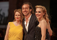 Actress, Miranda Otto, Director, Simon Stone and Actress, Odessa Young at the gala screening for the film Equals at the 72nd Venice Film Festival, Saturday September 5th 2015, Venice Lido, Italy.