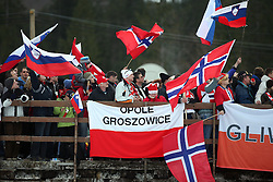Spectators with flags of Slovenia, Poland and Norway at e.on Ruhrgas FIS World Cup Ski Jumping on K215 ski flying hill, on March 14, 2008 in Planica, Slovenia . (Photo by Vid Ponikvar / Sportal Images)./ Sportida)
