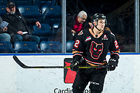 KELOWNA, BC - FEBRUARY 17:  Jett Woo #22 of the Calgary Hitmen warms up on the ice against the Kelowna Rockets at Prospera Place on February 17, 2020 in Kelowna, Canada. Woo was selected in the 2018 NHL entry draft by the Vancouver Canucks. (Photo by Marissa Baecker/Shoot the Breeze)
