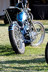Invited Old Bike Barn BF11 builder Zane Cook's custom 1976 Kawasaki KZ400 in the Invited Builders corral at the end of the day at the Born Free Motorcycle Show (BF11) at Oak Canyon Ranch, Silverado  CA, USA. Saturday, June 22, 2019. Photography ©2019 Michael Lichter.
