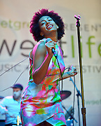 COLUMBIA, MD - May 11th,  2013 -   Solange performs at the 2013 Sweetlife Music and Food Festival at Merriweather Post Pavilion in Columbia, MD.  (Photo by Kyle Gustafson/For The Washington Post)