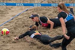 Sanne Keizer, Madelein Meppelink in action. The DELA NK Beach volleyball for men and women will be played in The Hague Beach Stadium on the beach of Scheveningen on 22 July 2020 in Zaandam.