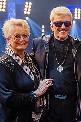 """09.06.2015, WDR Studios, Koeln, GER, TV Show, Ich stelle mich, mit Heino, im Bild Hannelore Kramm (Ehefrau) mit ihrem Ehemann Heino (Heinz Georg Kramm) // during Germans TV Show """"Ich stelle mich"""" at the WDR Studios in Koeln, Germany on 2015/06/09. EXPA Pictures © 2015, PhotoCredit: EXPA/ Eibner-Pressefoto/ Schüler<br /> <br /> *****ATTENTION - OUT of GER*****"""