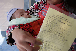 Ku 20 years old, baby Adee is just over one month old and born in the MCH ward. He is visiting for a regular check up and routine vaccination. Somsanouk village, Pak Ou District, Luang Prabang Province, Lao PDR