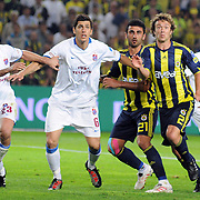 Fenerbahce's Diego Alfredo Lugano MORENO (R), Fenerbahce's Selcuk SAHIN (2ndR) and Trabzonspor's Ceyhun GULSELAM (2ndL), Remzi Giray KACAR (L) during their Turkish superleague soccer derby match Fenerbahce between Trabzonspor at the Sukru Saracaoglu stadium in Istanbul Turkey on Sunday 16 May 2010. Photo by TURKPIX