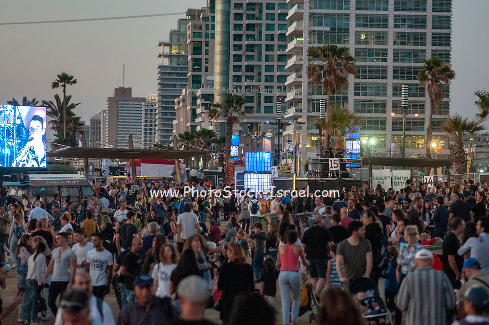 Tel Aviv, Israel,  May 14th 2019. The 2019 Eurovision village in Charles Clore park, crowds of Israelis and tourists enjoy the live shows
