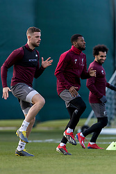LIVERPOOL, ENGLAND - Monday, February 18, 2019: Liverpool's captain Jordan Henderson, Georginio Wijnaldum, Mohamed Salah during a training session at Melwood ahead of the UEFA Champions League Round of 16 1st Leg match between Liverpool FC and FC Bayern München. (Pic by Paul Greenwood/Propaganda)