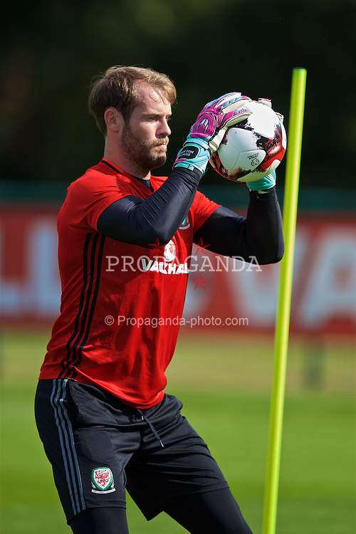CARDIFF, WALES - Thursday, September 1, 2016: Wales' goalkeeper Owain Fon Williams during a training session at the Vale Resort ahead of the 2018 FIFA World Cup Qualifying Group D match against Moldova. (Pic by David Rawcliffe/Propaganda)