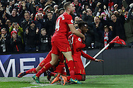 Divock Origi of Liverpool (r) celebrates with his teammates after scoring his teams 1st goal. Premier League match, Liverpool v Sunderland at the Anfield stadium in Liverpool, Merseyside on Saturday 26th November 2016.<br /> pic by Chris Stading, Andrew Orchard sports photography.