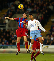 Fotball<br /> Premier League England 2004/2005<br /> Foto: SBI/Digitalsport<br /> NORWAY ONLY<br /> <br /> 03.01.2005<br /> <br /> Crystal Palace v Aston Villa<br /> <br /> Vassillis Lakis of Palace and Nolberto Solano of Villa go up for this one at Selhurst Park.
