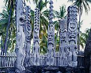 Replicas of ancient Hawaiian deities carved from 'ohi'a wood, City of Refuge, Pu'uhonua o Honaunau National Historical Park, Big Island of Hawaii.
