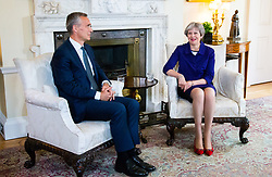 British Prime Minister Theresa May welcomes the NATO Secretary General Jens Stoltenberg, to Downing Street.. London, June 21 2018.