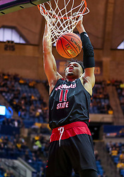 Dec 22, 2018; Morgantown, WV, USA; Jacksonville State Gamecocks forward Jacara Cross (11) dunks the ball during the first half against the West Virginia Mountaineers at WVU Coliseum. Mandatory Credit: Ben Queen-USA TODAY Sports