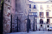Remains of section of Roman wall in city of  of Barcelona, Catalonia, Spain