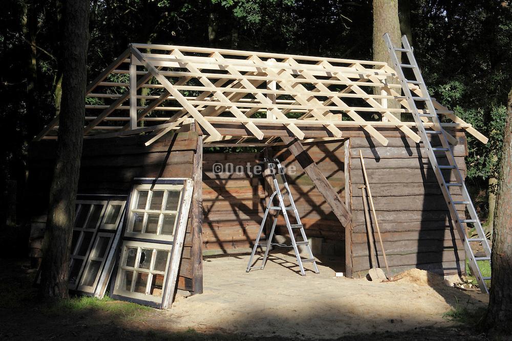 renovating wooden cabin