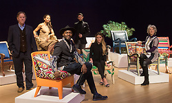 "Bonhams, London, February 29th 2016. L-R: Artist David Bent, Emma, Viscountess Weymouth of Longleat, designer Samson Soboye, Made In Chelsea's Mark Francis Vandelli and Victoria Baker-Harber and actress Maureen Lipman during a photocall for ""Sitting Pretty"", featuring unique, hand painted and upholstered chairs made by 30 celebrities and artists, at Bonhams ahead of their auction in support of a leading AIDS charity, CHIVA Africa.<br /> ©Paul Davey<br /> FOR LICENCING CONTACT: Paul Davey +44 (0) 7966 016 296 paul@pauldaveycreative.co.uk"