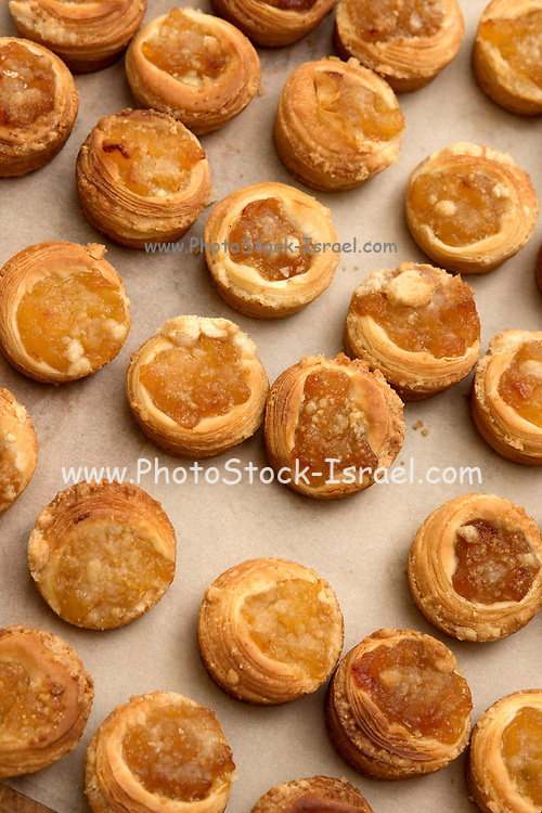 A dessert plate of sweet tartelettes (small tarts with various sweet fillings)