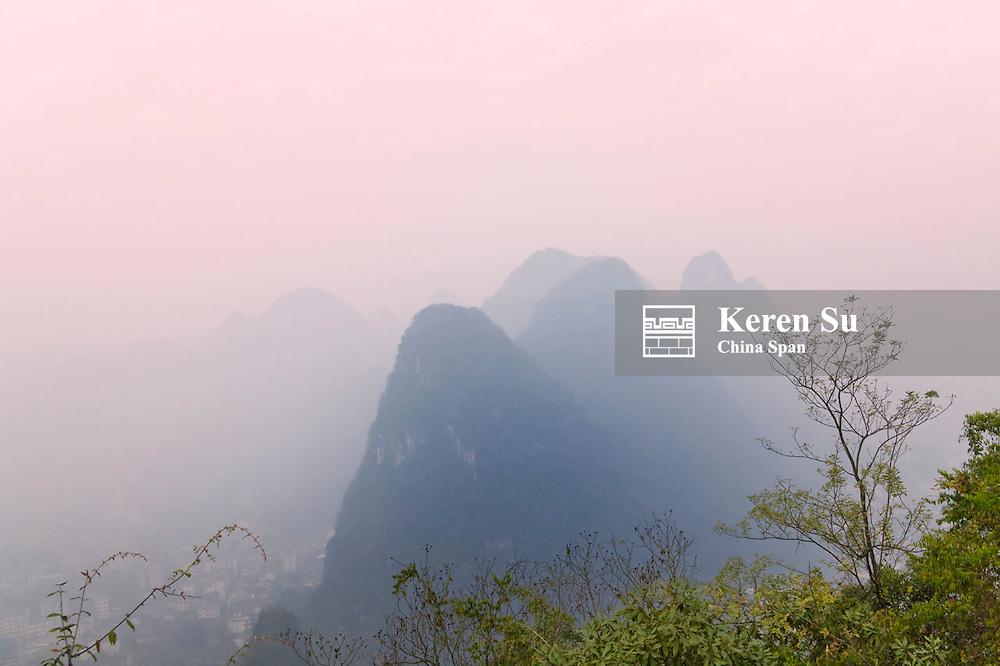 Karst hills in Li River area, Yangshuo, Guangxi, China