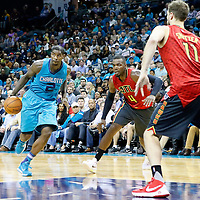 01 November 2015: Charlotte Hornets forward Marvin Williams (2) drives past Atlanta Hawks forward Paul Millsap (4) during the Atlanta Hawks 94-92 victory over the Charlotte Hornets, at the Time Warner Cable Arena, in Charlotte, North Carolina, USA.