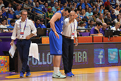 September 2, 2017 - Telaviv, Israel, Israel - Christian Burns and Ettore Messina of Italy during Erurobasket Group B a game between Ukraine vs Italy , Telaviv 02//09/2017 (Credit Image: © Michele Longo/Pacific Press via ZUMA Wire)