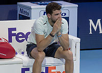 Tennis - 2017 Nitto ATP Finals at The O2 - Day Eight<br /> <br /> Final : Grigor Dimitrov (Bulgaria) Vs David Goffin (Belguim) <br /> <br /> Grigor Dimitrov (Bulgaria) sits and waits for his time to lift the trophy and contemplates his win at the O2 Arena <br /> <br /> COLORSPORT/DANIEL BEARHAM