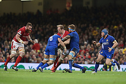 February 1, 2020, Cardiff (Wales, Italy: alun wyn jones captain of galles viene blocked durante una carica during Wales vs Italy, Six Nations Rugby in Cardiff (Wales), Italy, February 01 2020 (Credit Image: © Massimiliano Carnabuci/IPA via ZUMA Press)