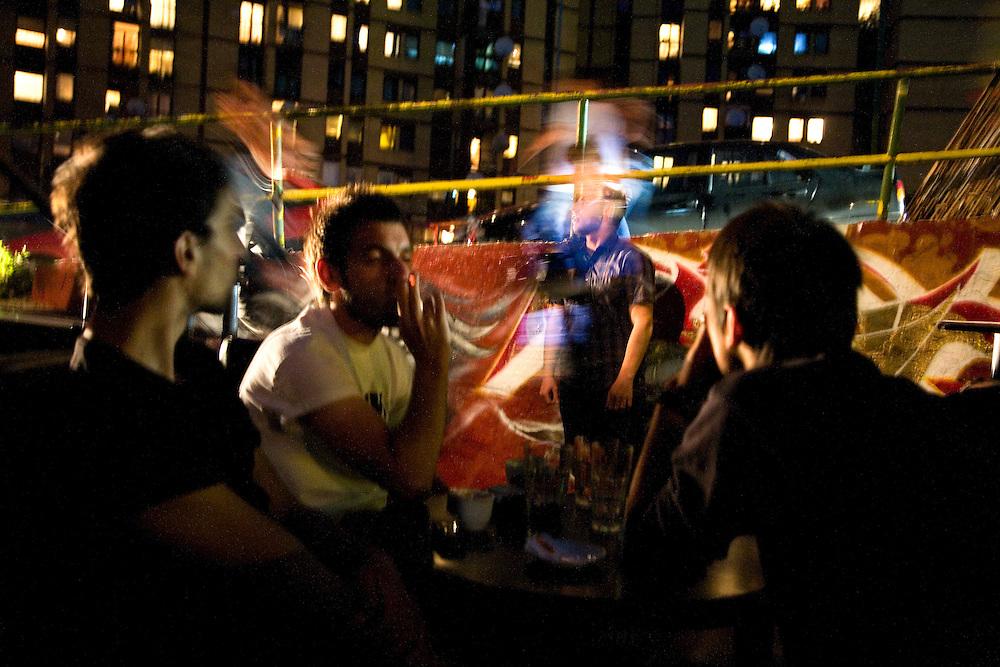 "Youth partying at Bar ""Groovy"" in the Dardania neighborhood of Prishtina...Pristina, Kosovo, Serbia"