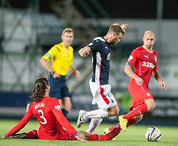 Rangers Bilel Moshsni and Falkirk's Rory Loy. Falkirk 0 v 2 Rangers, Scottish Championship game played 15/8/2014 at The Falkirk Stadium.