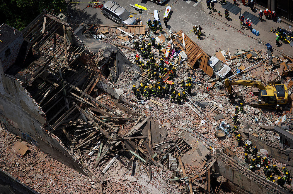 The site of a building collapse is seen from the 42nd floor a nearby building in Philadelphia, PA, on June 5, 2013.
