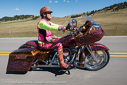 Diva Amy Skaling on her bedazzled bagger on the Harley-Davidson Angels Ride to benefit the Nature Conservancy during the annual Sturgis Black Hills Motorcycle Rally.  SD, USA.  August 12, 2016.  Photography ©2016 Michael Lichter.